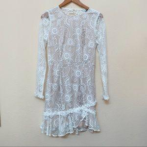 Angel Biba White Lace Open Back Long Sleeve Dress